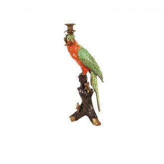 green parrot candleholder